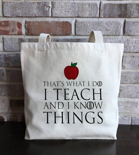 Teacher Gift Teacher Tote Bag I Teach and I Know Things | Etsy