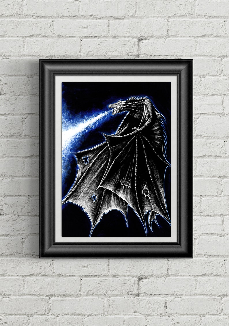 Viserion / Ice Dragon - Game Of Thrones - A Song of Ice and Fire - A4/A3  ART PRINT