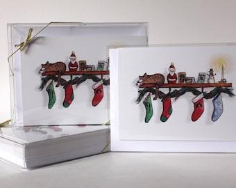 Cat Christmas Card, Single Holiday Greeting Card, Watercolor Card, Christmas Illustration, Christmas Stocking Card