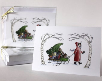 Girl with Sled Christmas Card, Holiday Watercolor Illustration, Old Fashioned Christmas Card