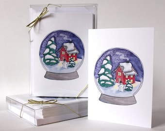 Christmas Snow Globe Card, Home Holiday Greeting Card, Watercolor Card, Winter Illustration, Christmas Scene