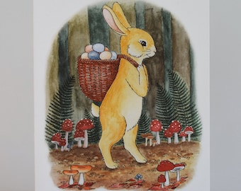 Woodland Easter Bunny Greeting Card FREE U.S. SHIPPING, Non Religious Spring Rabbit with Mushrooms, Watercolor Illustration