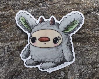 Cute Grey Forest Beastie Vinyl Sticker, Fuzzy Woodland Leaf Creature Decal