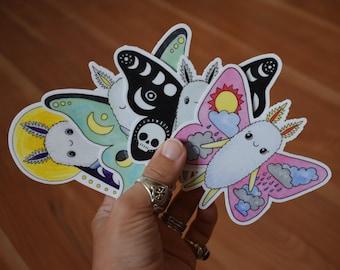 4 Pack Moth Sticker Set, Cute Assorted Moths Vinyl Stickers