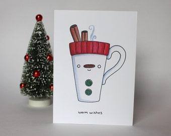 Warm Wishes Cinnamon Stick Mug Card, Cute Holiday Greeting Card, Christmas Illustration