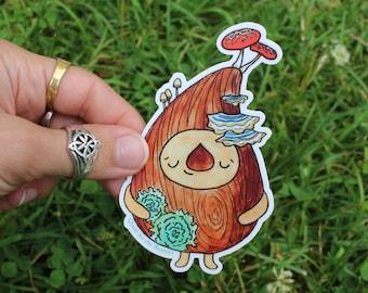 Fungus Tree Sprite Vinyl Sticker with Mushrooms, Waterproof, Cute Woodland Tree Sprite, Forest Friend Decal for Water Bottle & Laptop