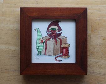 Mini Christmas Elf Framed Painting, Original Holiday Watercolor, Cute Xmas Elves