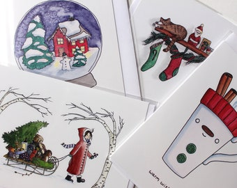 Four Assorted Christmas Watercolor Illustration Cards, Buy 3 get 1 Free Sale, Winter Holiday Greeting Cards Blank Inside