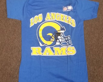 d0bad866 New original 1980s mens SMALL LA Rams shirt , 80s tee,vintage Rams tee,Los  Angeles rams shirt single stitch 16X26 rams trench shirt