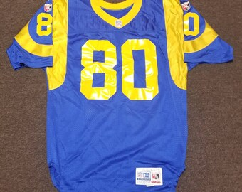 Authentic 90s LA rams jersey los Angeles rams jersey isaac bruce jersey  size 42 48 LARGE pro fit jersey deadstock 0c8b6e5a9