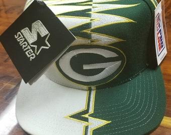 267329917adde New 90s green bay packers starter hat shockwave strapback hat