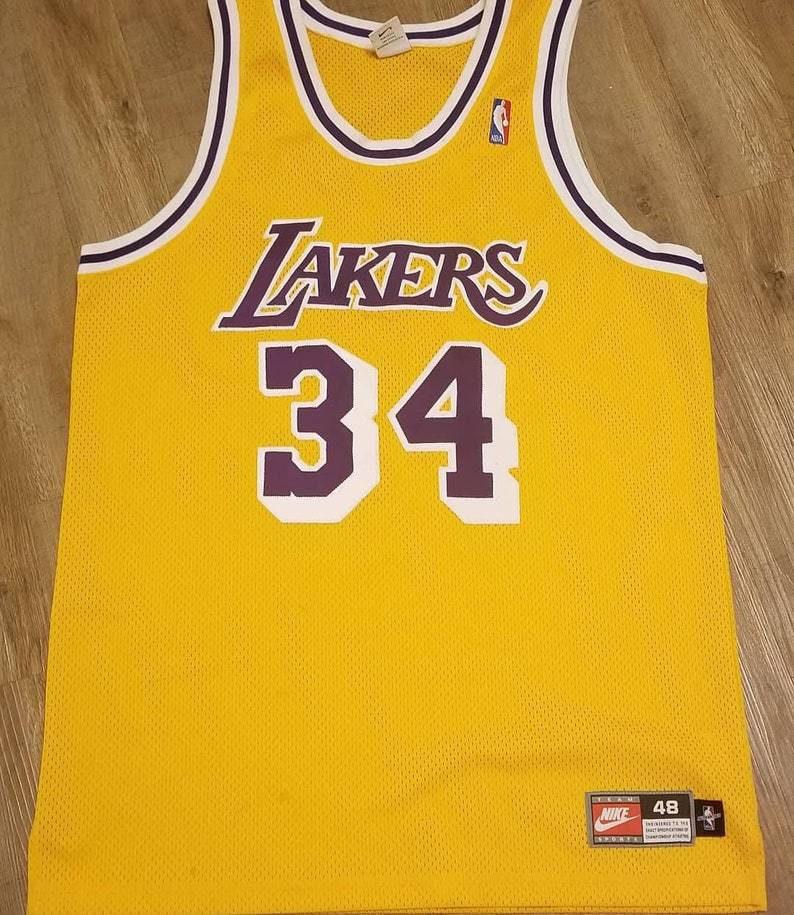 new products 71bb5 6e96b Shaquille o Neal shaq lakers Jersey, Nike Lakers jersey,nike jersey,lakers  jersey, authentic jersey size 48 1997-1999