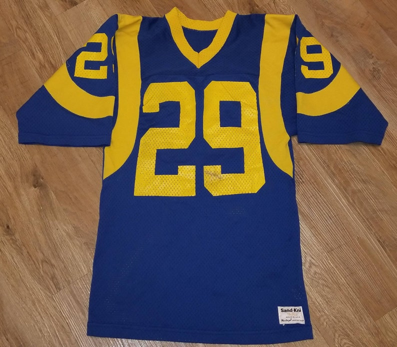 new arrival 33724 23f48 Men's Small slim los Angeles Rams jersey, vintage jersey, Rams jersey  sandknit (16x27) eric dickerson jersey