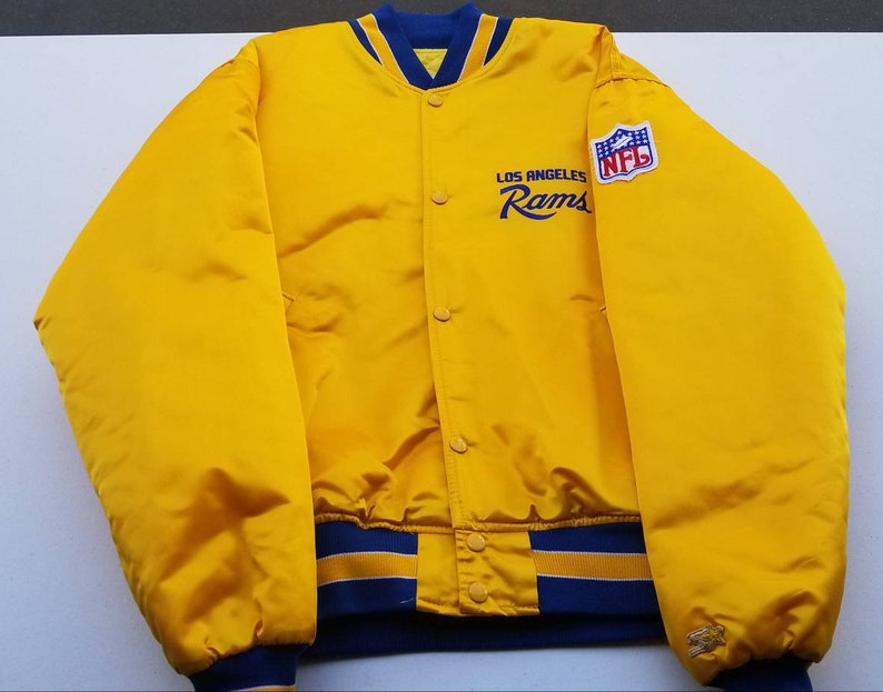 big sale 311cc c0b26 LARGE Rams starter jacket,90s, vintage starter jacket, satin jacket LA rams  jacket