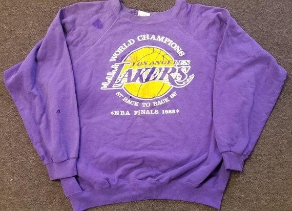 buy popular 0009a 6703d XL 1988 NBA finals LA Lakers sweather ,vintage Lakers sweater 80s sweather  magic Johnson Kareem