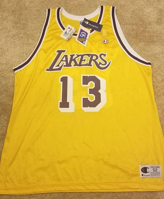 New original 1996-1997 Size 52 XL Lakers champion jersey nba 50th jersey wilt chamberlain jersey