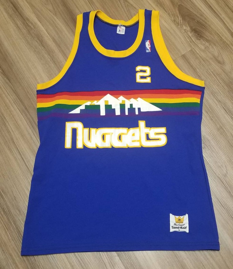 low priced a8432 67385 Large-medium 1980s Denver nuggets jersey, Vintage Nuggets sand knit jersey,  Alex English jersey,