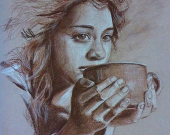 morning coffee - original sepia charcoal and chalk drawing by portrait and figurative artist Anita Dewitt