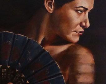 original large figurative acrylic painting - dauntless gaze - by professional figurative and portrait artist Anita Dewitt