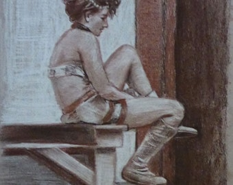 performer putting on boots - original sepia charcoal drawing by professional portrait artist Anita Dewitt