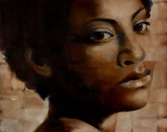original small oil painting - afro study in oils - portrait study by professional artist Anita Dewitt