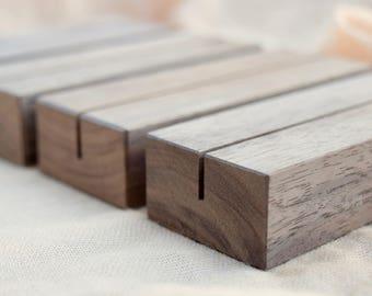 Wood Table Number Holders Set| Walnut Wood Wedding table number holders | Wedding sign holder | wood table number stand | wedding sign stand