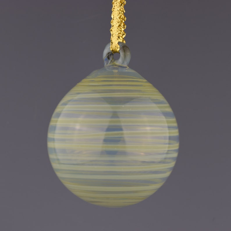 Striped Christmas Bulb Hand Blown Glass Ornament Clear with Green Stripes
