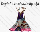 Clipart Designs - BOHO Funky Tee Pee 001 - by Quality Time Designs