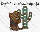 Cowboy Hat and Boots Leopard Print 002 - clipart transfer - by Quality Time Designs