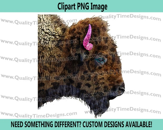 Funky Watercolor Boho Buffalo 102 Clip Art Graphic Images Transparent Background Turquoise Gold Glitter American Buffalo Native