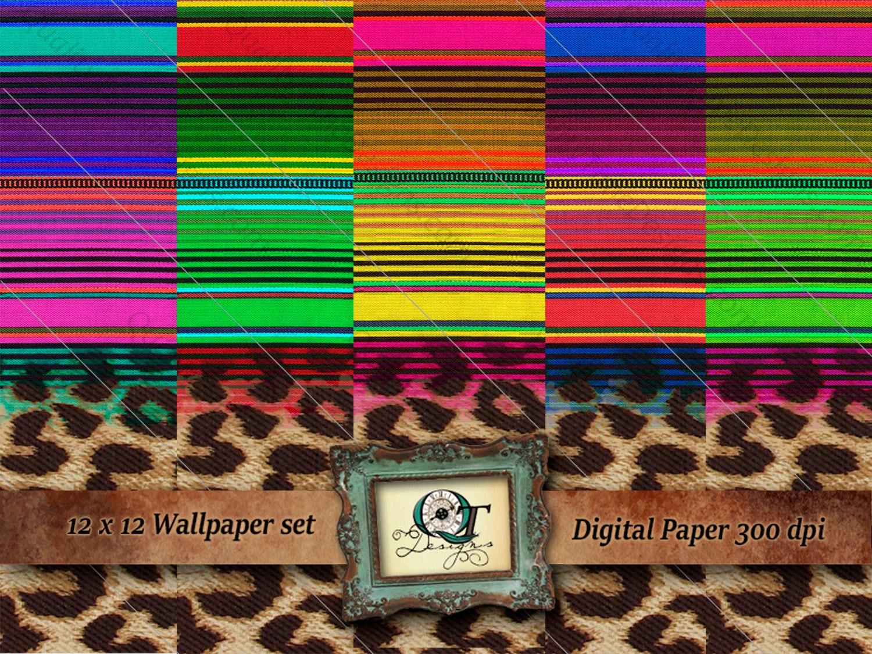 funky leopard serape digital wallpaper 12x12 300 dpi