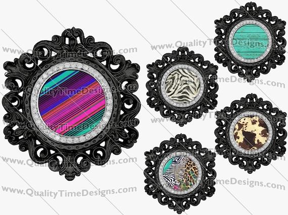 Clip Art Black Circle Vintage Ornate Bling Frame Clipart BOHO Logo Sublimation Design Elements PNG by Quality Time Designs