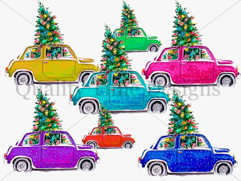Christmas Tree And Car Package Multi Color Pack Car