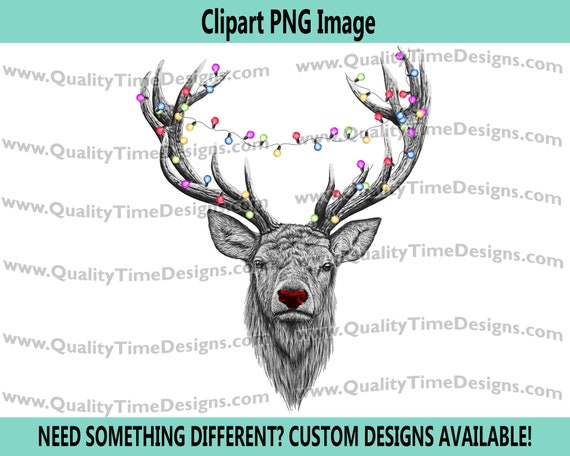 Christmas Transfer Clipart - Deer with lights Christmas Deer 101 - by quality time designs