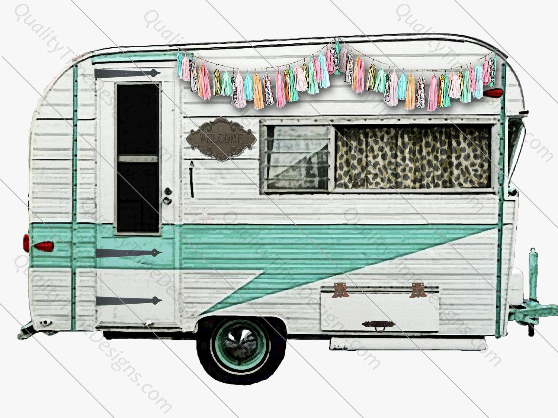 Turquoise Camper Clipart, Clip Art, Trailor, Vintage ...