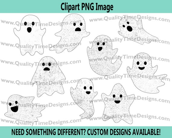 Distressed Watercolor Ghost Clipart Halloween Fall Set Ghostly Shape Characters by Quality Time Designs