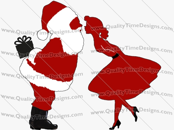Christmas Sublimation Transfer Screen Print Clipart - mommy kissing santa 101 - by Quality Time Designs