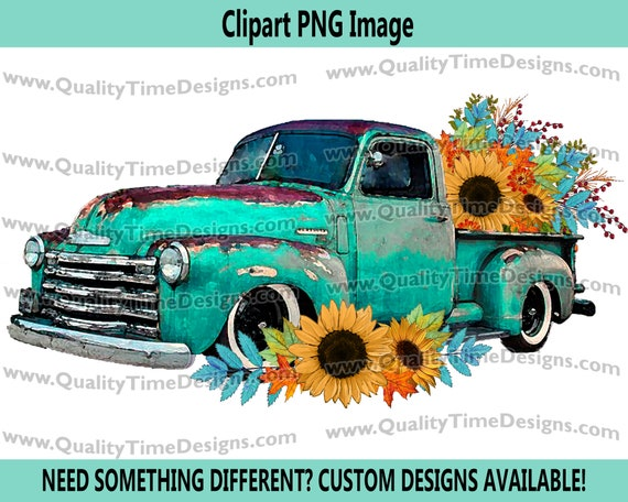 Fall Floral 101 Truck Turquoise Watercolor BOHO Turquoise Sunflower Fall Leaves Boho Water Color - by Quality Time Designs