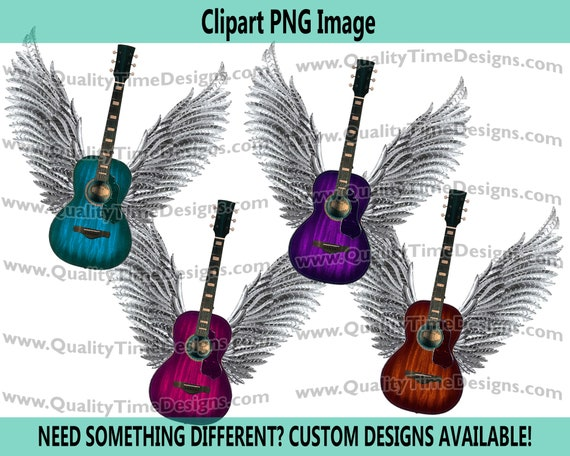 Set of Guitar wings 101 Clipart Graphic Sublimation Designs - Blue, Pink, Brown, and Purple - by Quality Time Designs