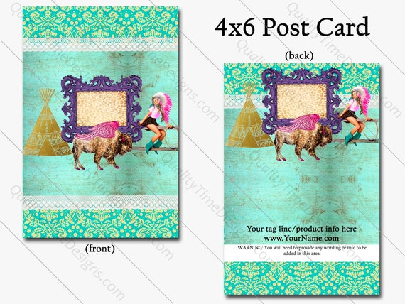 4x6 Post Card Double Side Print - Buffalo Cowgirl, Full Color Print, BOHO Western, Funky Business Card, VIP Card, Loyalty Business Card