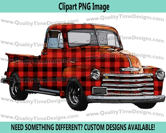 Watercolor Vintage Truck Clipart Rustic Country Chevy Pickup Retro Car - Truck Set 101 Red Buffalo Plaid - by Quality Time Designs