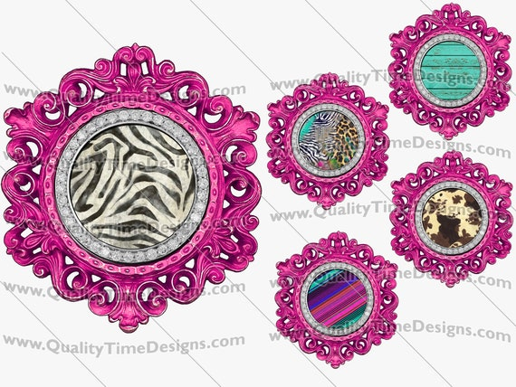 Clip Art Pink Circle Vintage Ornate Bling Frame Clipart BOHO Logo Sublimation Design Elements PNG by Quality Time Designs