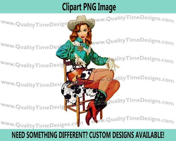 Wanted BOHO Western Pinup Cowgirl Clipart 029 by Quality Time Designs