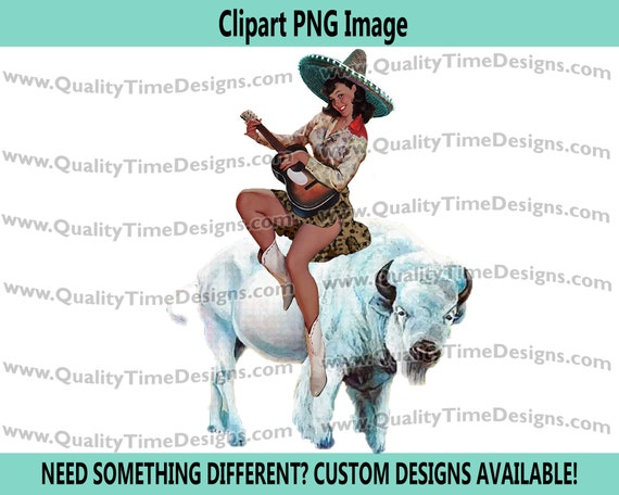 Clipart Sublimation Transfer Design - Boho Hispanic Babe on Buffalo 101 with Senioritis Pin Up Girl - by Quality Time Designs