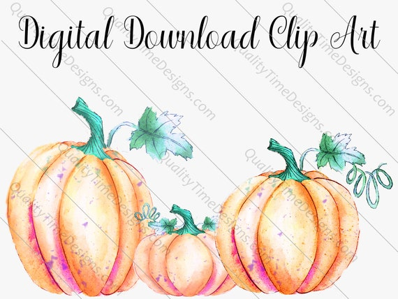 Watercolor Clipart Designs - Fall Pumpkin Vol 002 - Great for Sub Transfer Printing - by Quality Time Designs