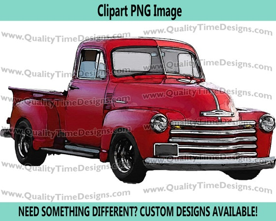 Watercolor Vintage Truck Clipart Rustic Country Chevy Pickup Retro Car - Truck Set 101 Red - by Quality Time Designs