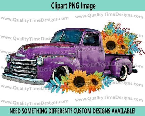 Fall Floral 101 Truck Purple Watercolor BOHO Turquoise Sunflower Fall Leaves Boho Water Color - by Quality Time Designs