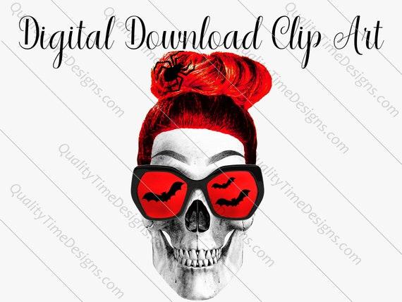 Printable Sublimation Designs - Girl Skull 007 - BOHO Floral Pink Orange Teal Green - by Quality Time Designs