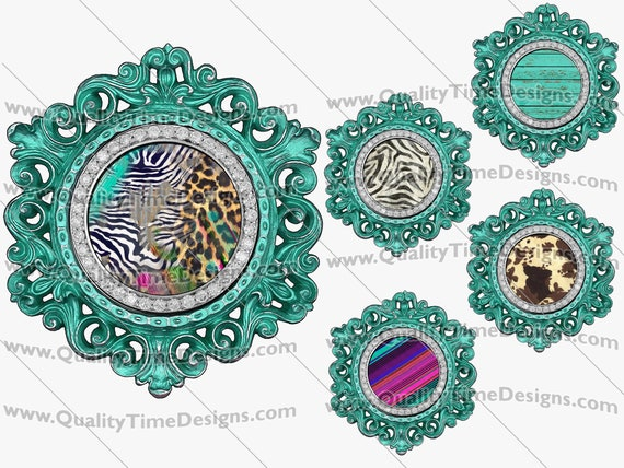 Clip Art Turquoise Blue Green Circle Vintage Ornate Bling Frame Clipart BOHO Logo Sublimation Design Elements PNG by Quality Time Designs