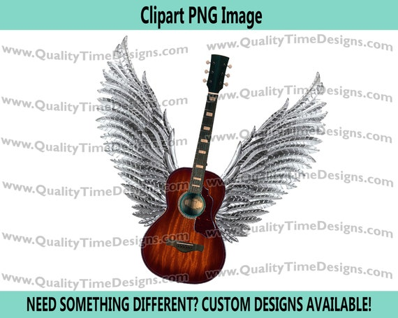 Brown Guitar wings 101 Clipart Graphic Sublimation Designs - by Quality Time Designs